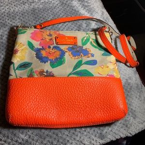 Kate Spade Bright Orange and Flowered Cross Body